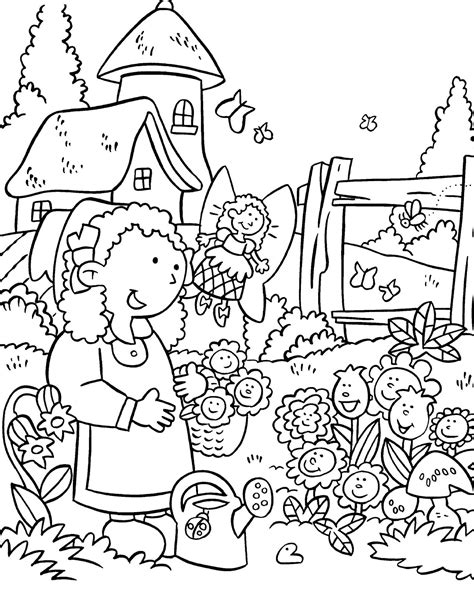 house anna   flower garden coloring pages
