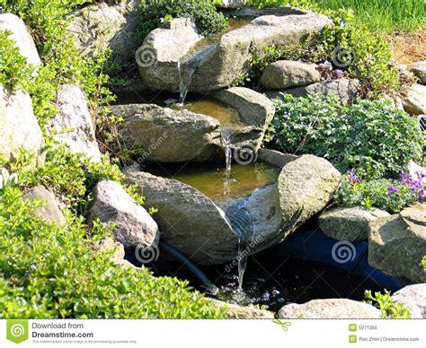 beautiful home garden waterfall pond royalty free stock