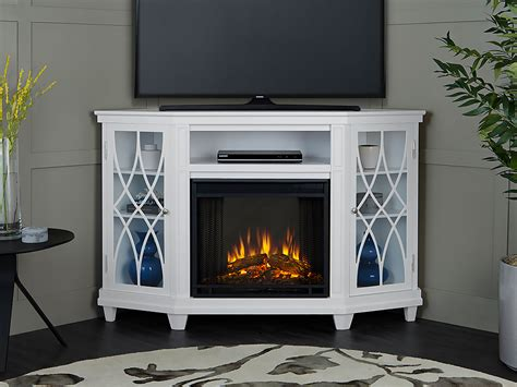 Real Flame Lynette White Corner Electric Fireplace