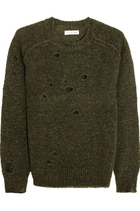 marant sweater etoile marant distressed knitted sweater in