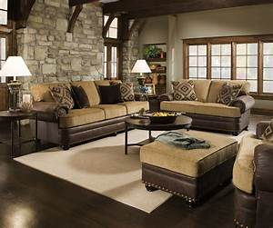 Traditional, Beige, Brown, Living, Room, Sofa, Set, W, Rolled, Arms, U0026, Nailhead, Accents