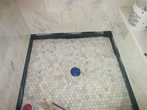 bathroom shower floor tile ideas marble carrara tile bathroom part 5 installing the shower