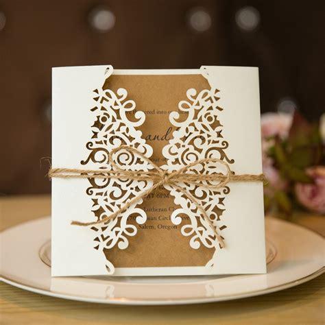 formal white laser cut wedding invitation cards  band