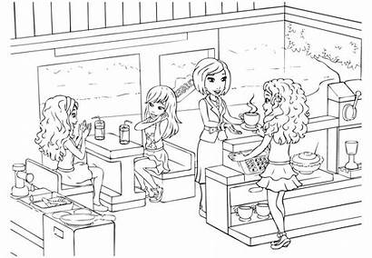 Coloring Lego Friends Pages Friendship Printable Cafeteria
