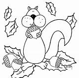 Coloring Fall Pages Nuts Squirrel Printable Collecting sketch template