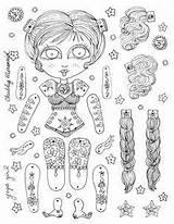Doll Coloring Malvorlagen Papier Dolls Puppets Printable Hampelmann Papierspielzeug Ausmalen Basteln Projekte Unicorn Template sketch template
