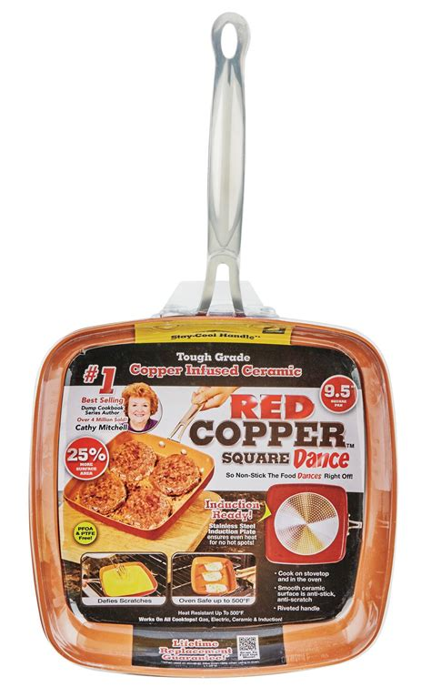tv red copper square pan fry shop cookware