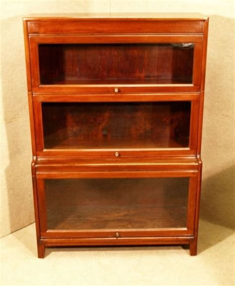 Mahogany Barrister Bookcase by Antique Globe Wernicke Style Mahogany Barristers Bookcase
