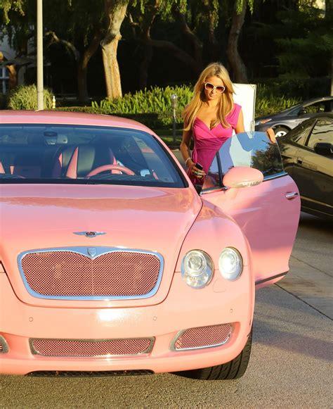 pink bentley paris hilton shopping at barneys drives a pink bentley