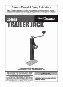 Manual For The 69782 2000 Lb  Swing Back Trailer Jack With