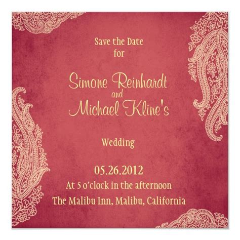 Indian Wedding Invitation Mehndi red gold Invitation