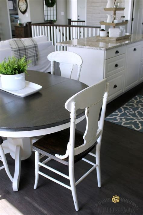 farmhouse style painted kitchen table  chairs makeover
