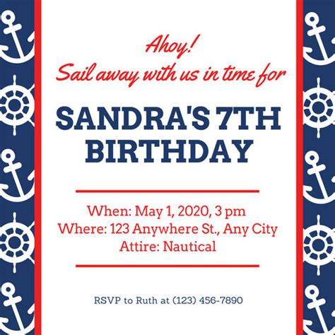 customize  nautical invitation templates  canva