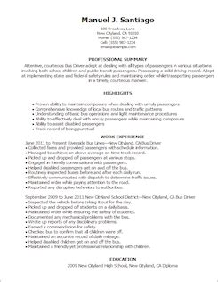 resume template driver