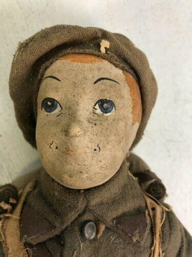 antique french paper mache boy soldier doll wwi dressed