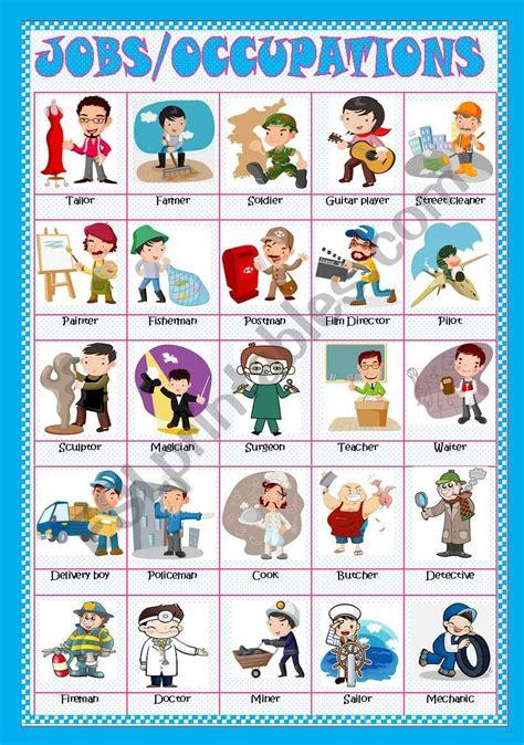 Jobsoccupations  Pictionaryposter(fully Editable)  Esl Worksheet By Rosario Pacheco