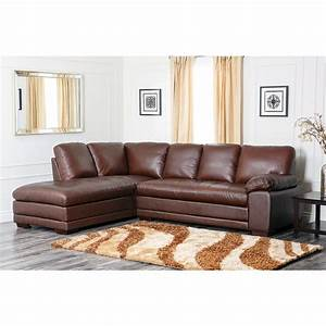 Abbyson living cooper top grain leather sectional for Leather sectional sofa overstock