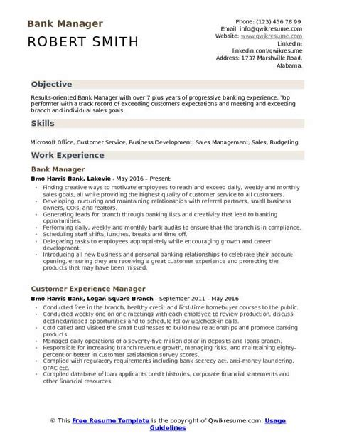 Bank Manager Resume by Bank Manager Resume Sles Qwikresume