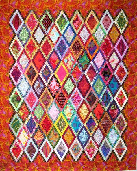 bordered diamonds quilt  wanda hanson exuberant color