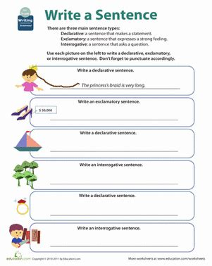 grammar types  sentences worksheet