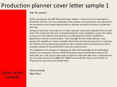 Planner Resume Cover Letter by Production Planner Cover Letter