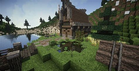 medieval house  island minecraft house design