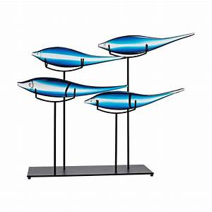 Small Blue Glass School Of Fish Sculpture On Metal Stand