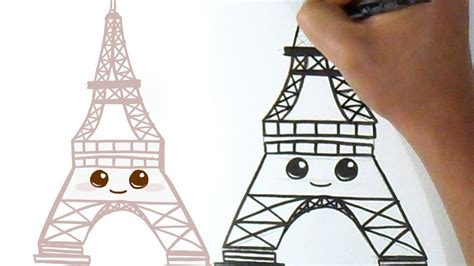 como dibujar torre eiffel kawaii youtube