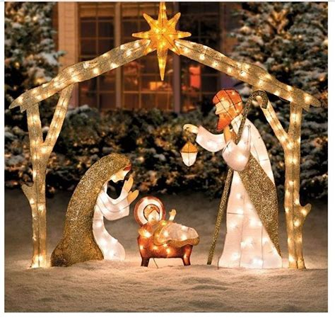 outdoor nativity scene lighted large pre lit  holy