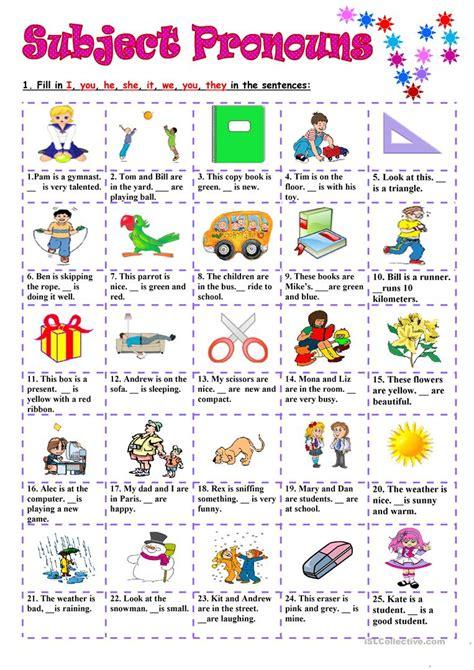 subject pronouns worksheet free esl printable worksheets