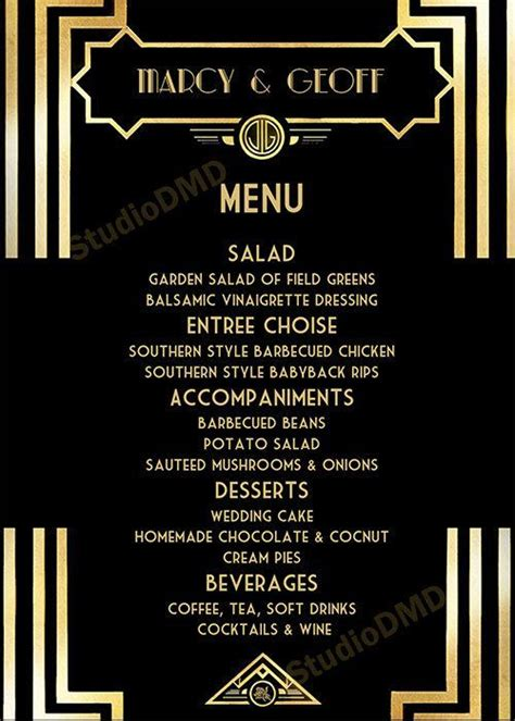 image result   great gatsby menu template menu