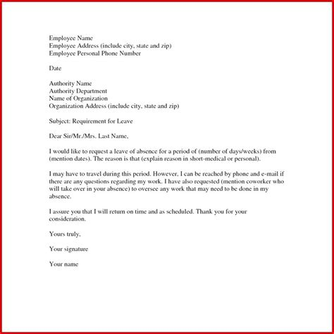 sample  absence letter leave  personal reasons