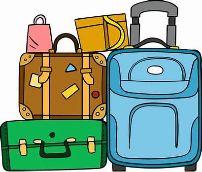 Suitcase Luggage Cartoon Clipart Travel Baggage Transparent