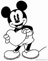 Coloring Pages Mickey Classic Heart Valentine Disney Holding Mouse Minnie Disneyclips Goofy Printable Link Drawing Funstuff sketch template