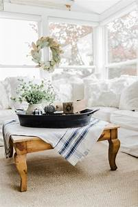 A, Farmhouse, Style, Coffee, Table, In, The, Sunroom
