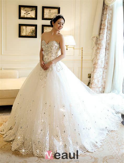 robe de mariã e princesse strass une ligne princesse chérie dentelle applique strass robe de mariée avec une longue queue
