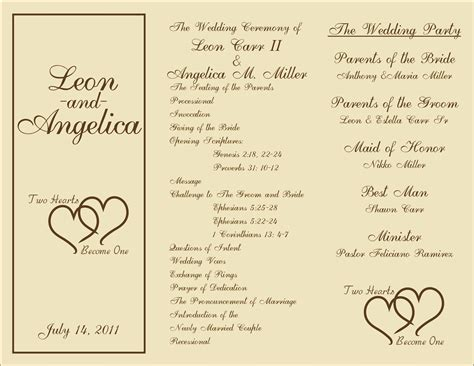 printable wedding programs templates sample