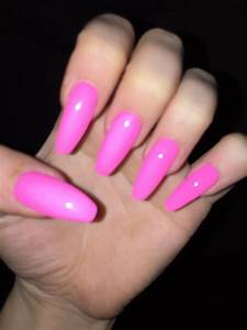 Neon pink acrylic coffin nails | Nails | Pinterest | Pink ...