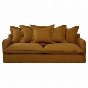 canape 5 places en lin lave jaune moutarde barcelone With tapis de course avec canapé en lin lavé
