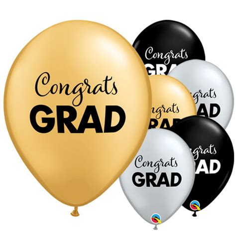 Congrats Grad Metallic Latex Helium Qualatex Balloons 28cm ...