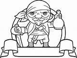 Bottle Coloring Pirate Cartoon Milk Strong Funny Vector Piraat Fles Met sketch template