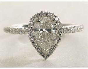 Pear shaped diamond engagement ring wedding promise for Wedding bands for pear shaped rings