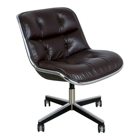 dark brown leather desk chair charles pollock for knoll dark brown leather executive