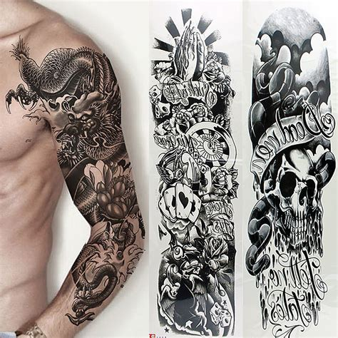 5 sheets temporary tattoo waterproof large arm body art