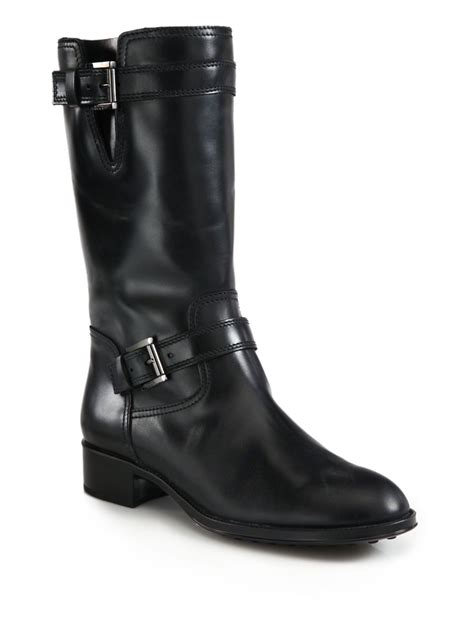 leather motorcycle shoes tod 39 s leather motorcycle boots in black lyst