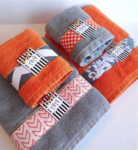 bath towels orange grey  towels  pinterest