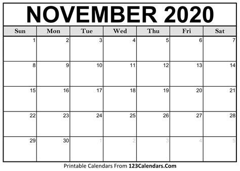 november  printable calendar calendarscom