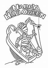 Coloring Halloween Mummy Pages Printable Coffin Spider Template Dinosaur Printables Open sketch template