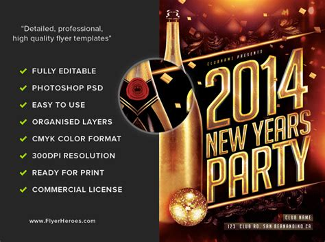 free new years flyer template new year s flyer template flyerheroes