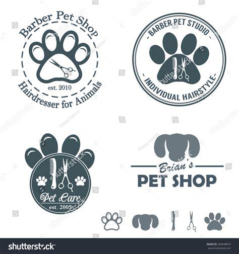 set vintage barber pet shop logo stock vector